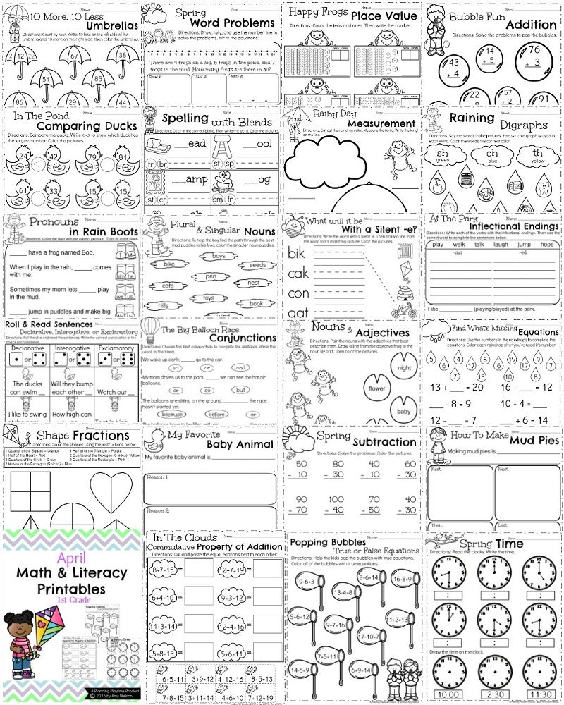 First Grade Worksheets for Spring | Worksheets, Math and Math activities