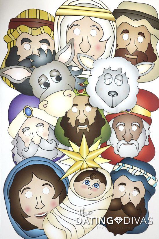 Fun And Free Nativity Printable Masks The Dating Divas Christmas Sunday School Preschool Christmas Christmas Photo Booth