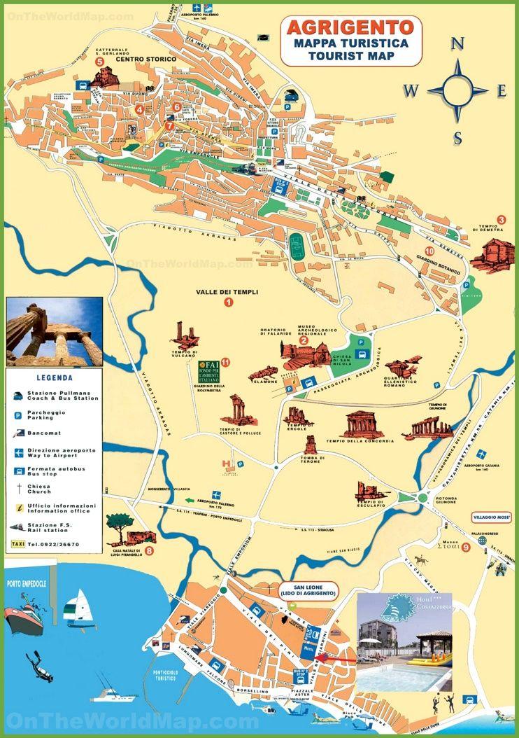 Agrigento tourist map Sicilia italia, Sicilia, Mappe