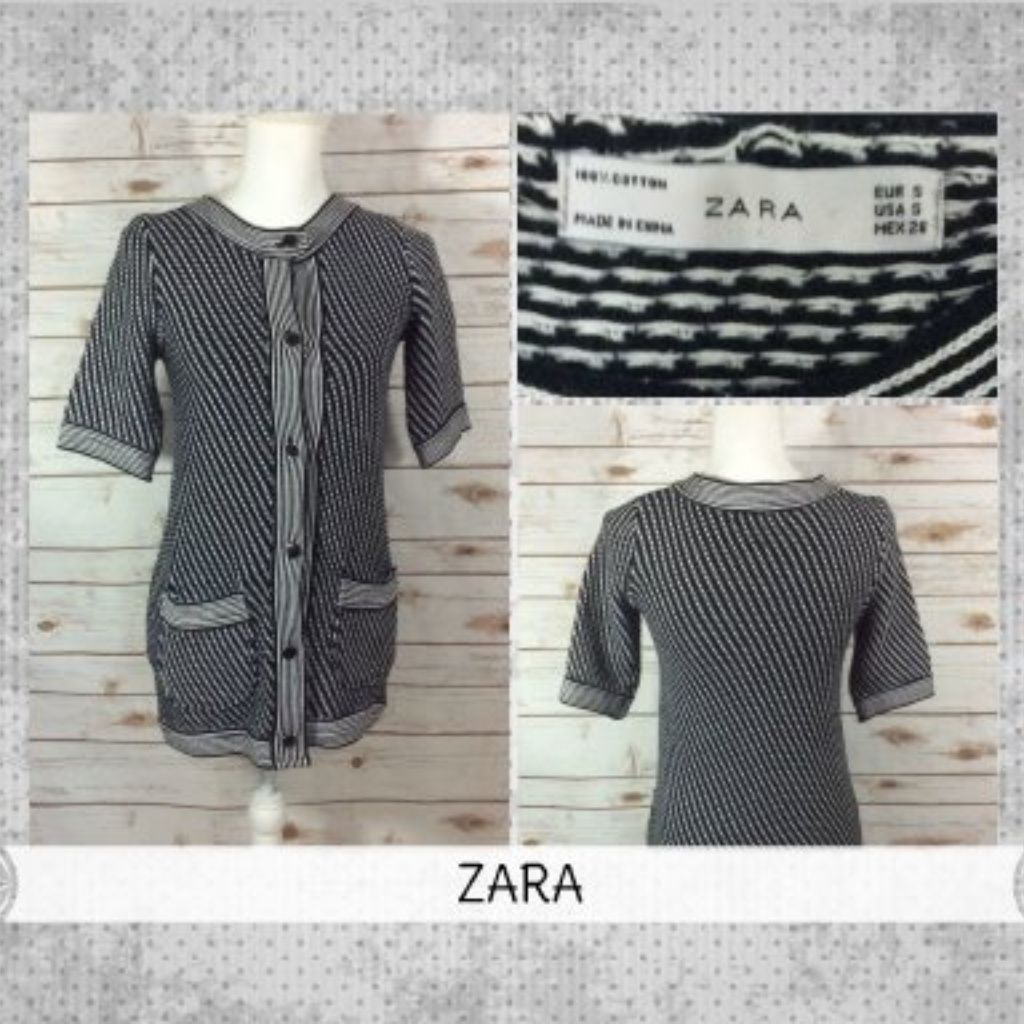 Zara Sz S Black White Knit Tunic Sweater Dress | Products
