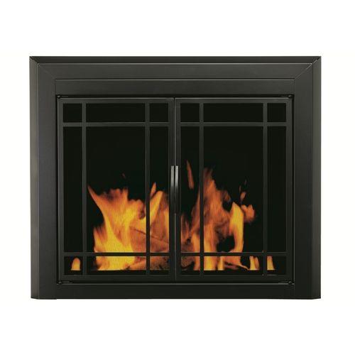 Pleasant Hearth 37 12 Black Glass Fireplace Door Home