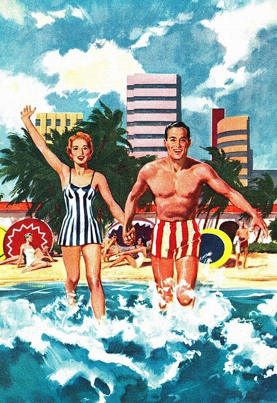 1950s Beach Art Illustration Beach Art Arte De La