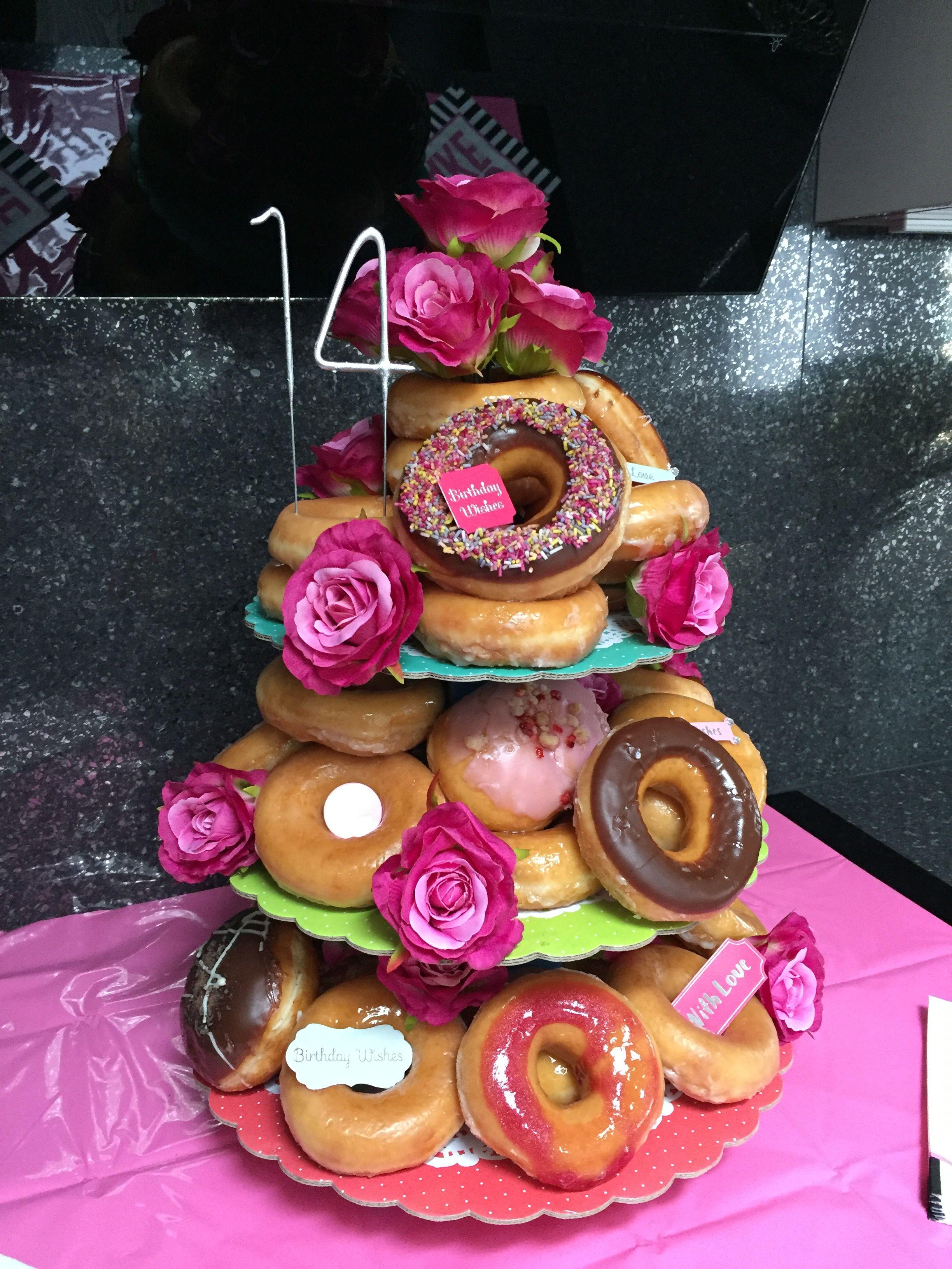 Strange Krispy Kreme Birthday Cake With Images Birthday Donuts Krispy Funny Birthday Cards Online Alyptdamsfinfo
