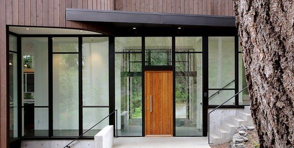 modern front door ideas wooden glass facade contemporary house ideas glass walls