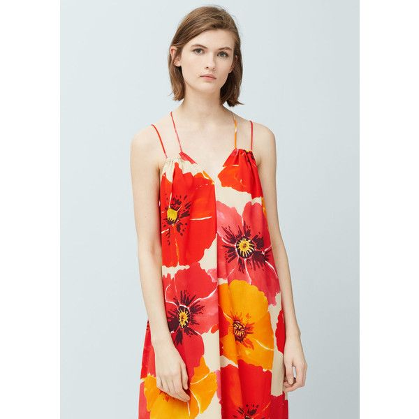 MANGO Flowy Long Dress (£48) ❤ liked on Polyvore featuring dresses, orange, orange dress, mixed print dress, pattern dress, strappy dress and mango dresses