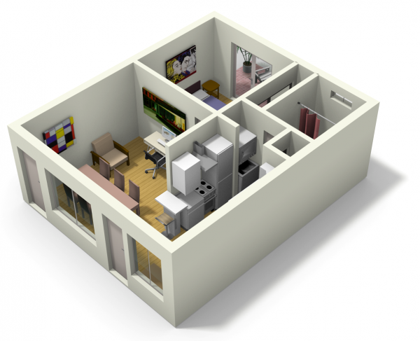 Small Apartment Design For Live Work 3d Floor Plan And Tour Small Apartment Design Small Apartment Building Design Small Apartment Building