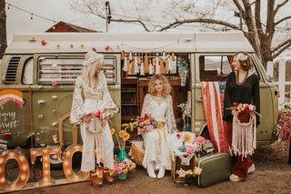 Boho bridal bohemian inspo - macrame & VW bus #autumnfoliage