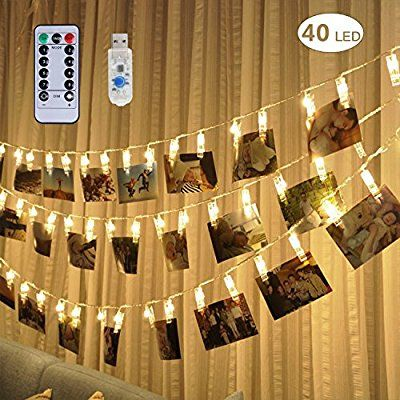 Remote  Timer 40 LED Photo Clip String Lights - Adecorty USB