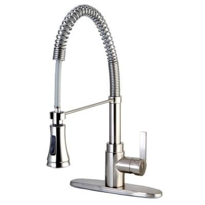 Kingston Brass 1 Handle Spring Spout Kitchen Faucet In Satin  Nickel HGS8878CTL   The