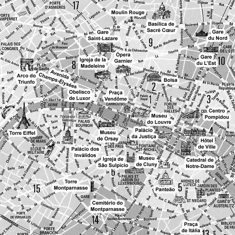 mapa paris centro Mapa do Centro de Paris mapa paris centro