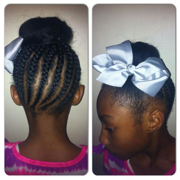 braids donut with bow hairstyle