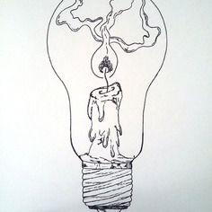Affiche Illustration Noir Et Blanc Ampoule Tenir Une Lampe