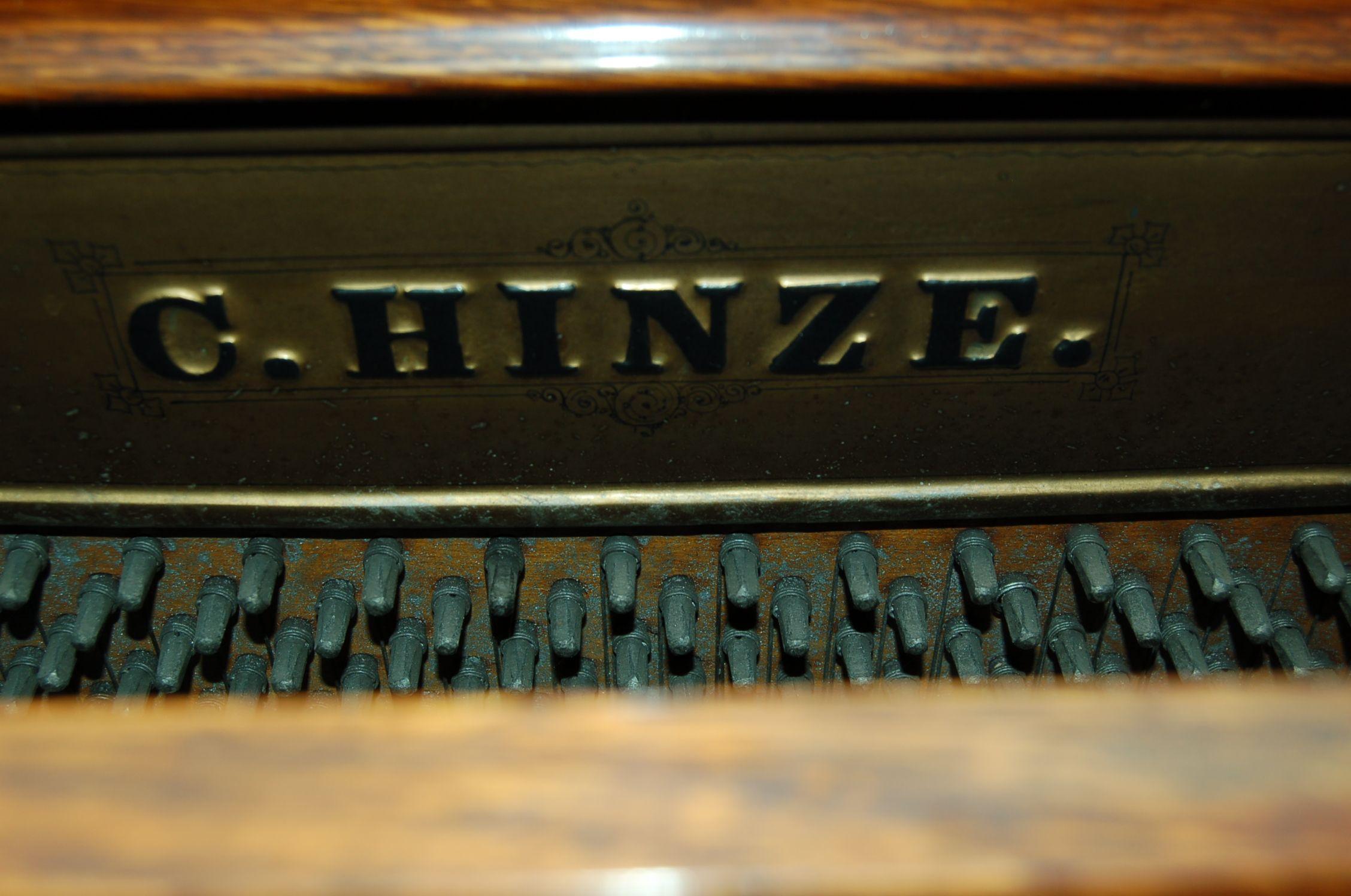 C Hinze Mark On Upright Oak Pianos Soundboard Circa 1900 1915