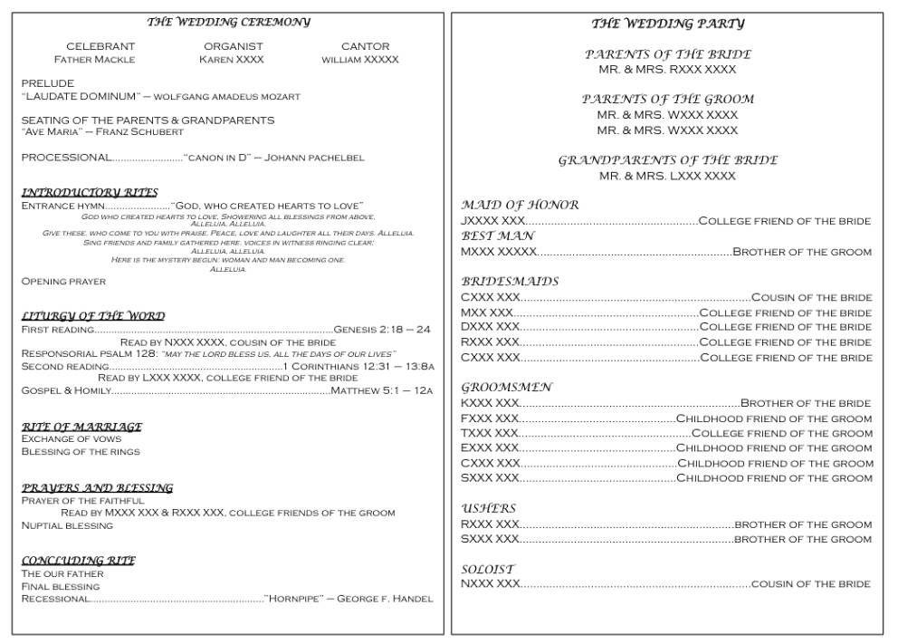 Ceremony Programs For Dummies Slightly Adjusted Wedding Philadelphia Program Religious
