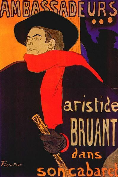 Aristide Bruant by Henri de Toulouse-Lautrec.......the inspiration for the scarf worn ny Tom Baker as the 4th Doctor.