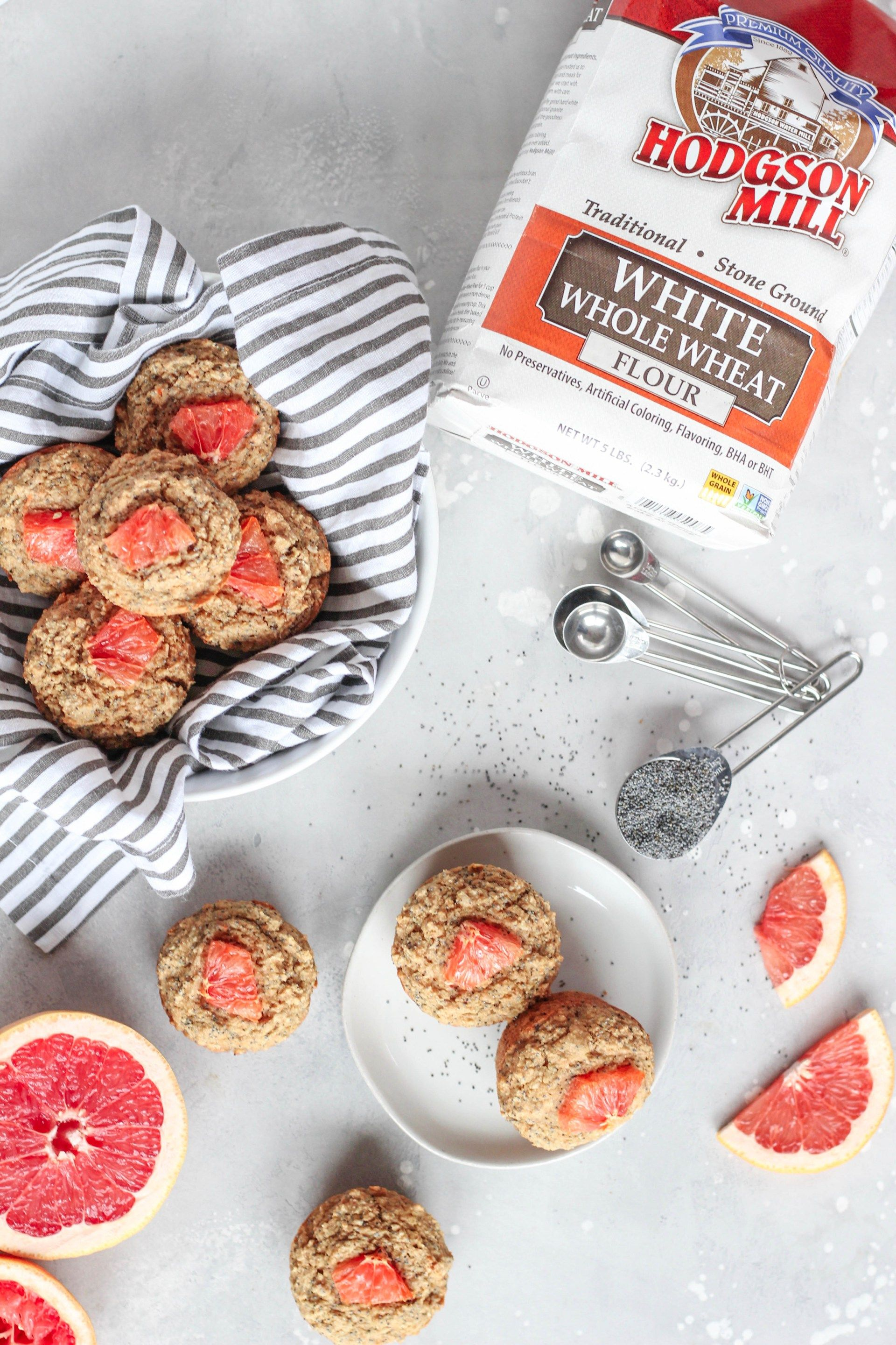 Whole Wheat Grapefruit Poppyseed Muffins