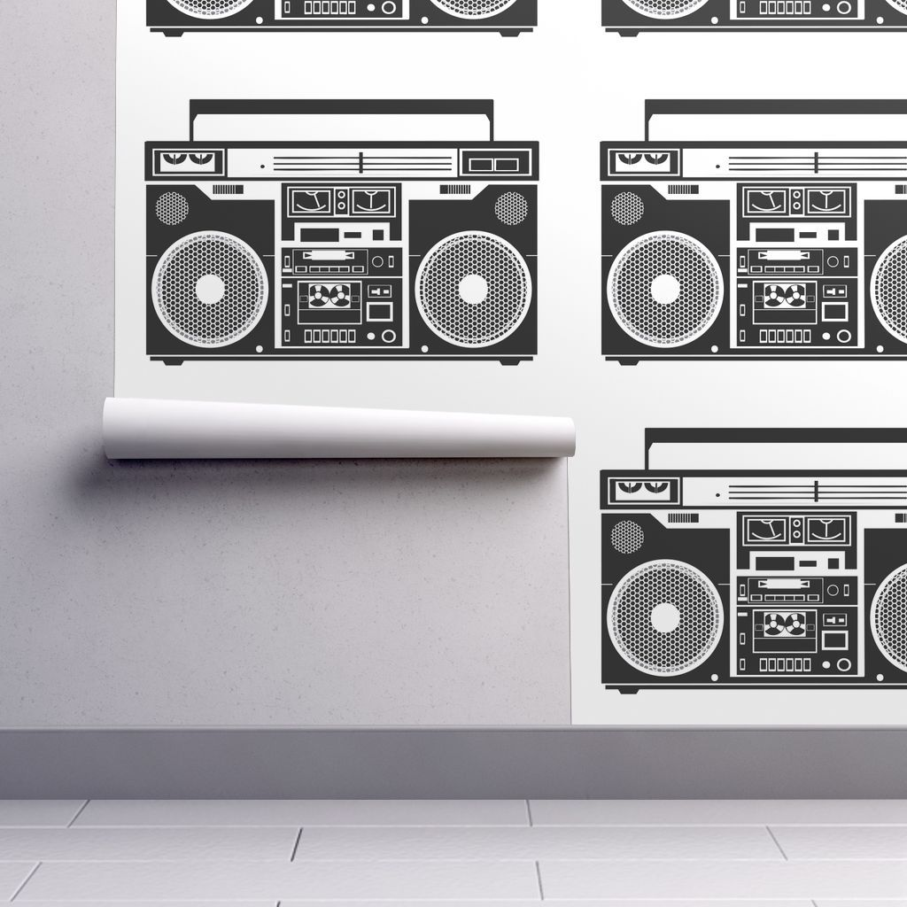isobar durable wallpaper featuring boombox black and whtie by