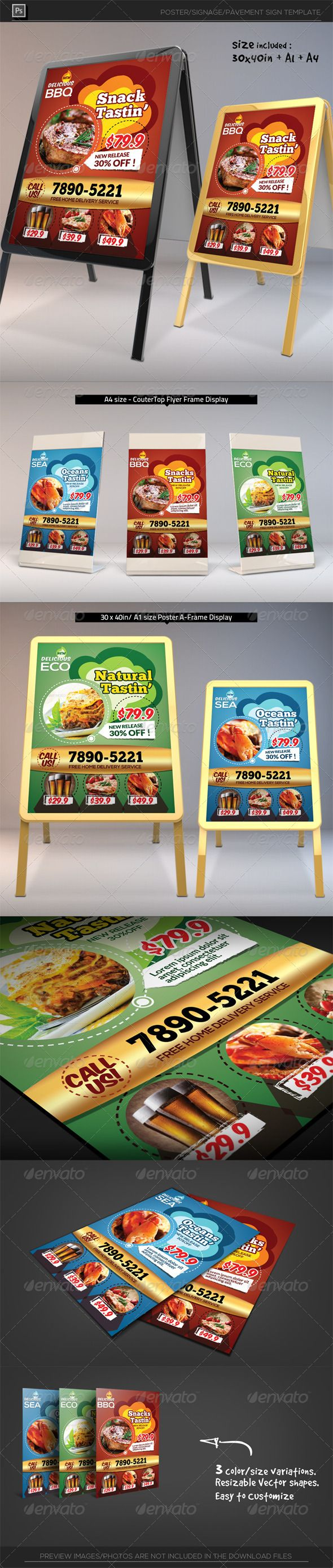 Restaurant Poster Template — Photoshop PSD #promotion #sandwich • Available ...