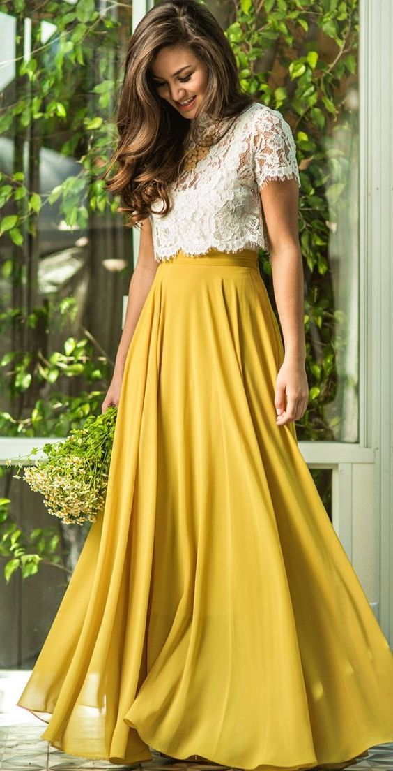 a2ff5b44ebd elegant two piece yellow chiffon prom dress with lace