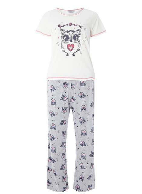 1c64e44a3 Petite Grey and White Owl Print Pyjama Set