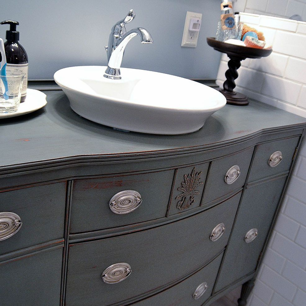 Repurposing Dining Room Buffet Into A Bathroom Vanity Single Sink Large Mirror