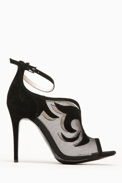 61208018e6b3 Anne Michelle Classic Black Mesh Peep Toe Heel