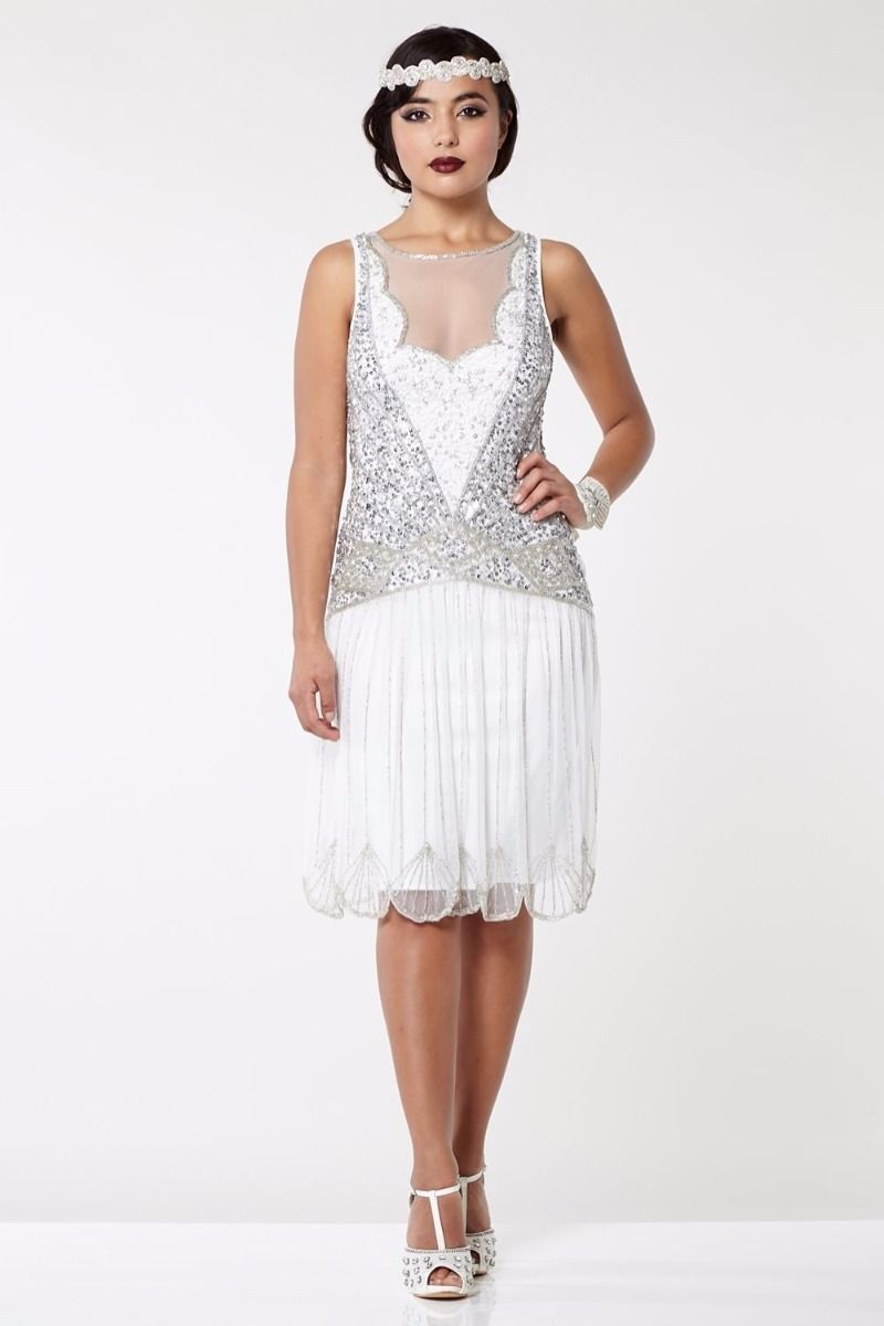 Vintage Inspired Drop Waist Dress In Off White Great Gatsby 1920s Style Dresses Fler Roaring Twenties Gowns Lady