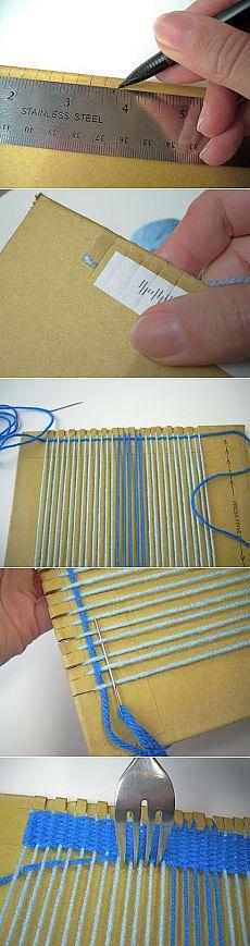 Как сделать ткацкий станок из вилки и картонки   Своими руками