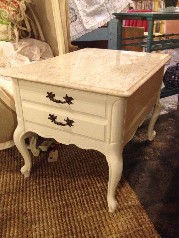 Two Vintage Bassett Furniture Marble Top EndSide by FreshFellas