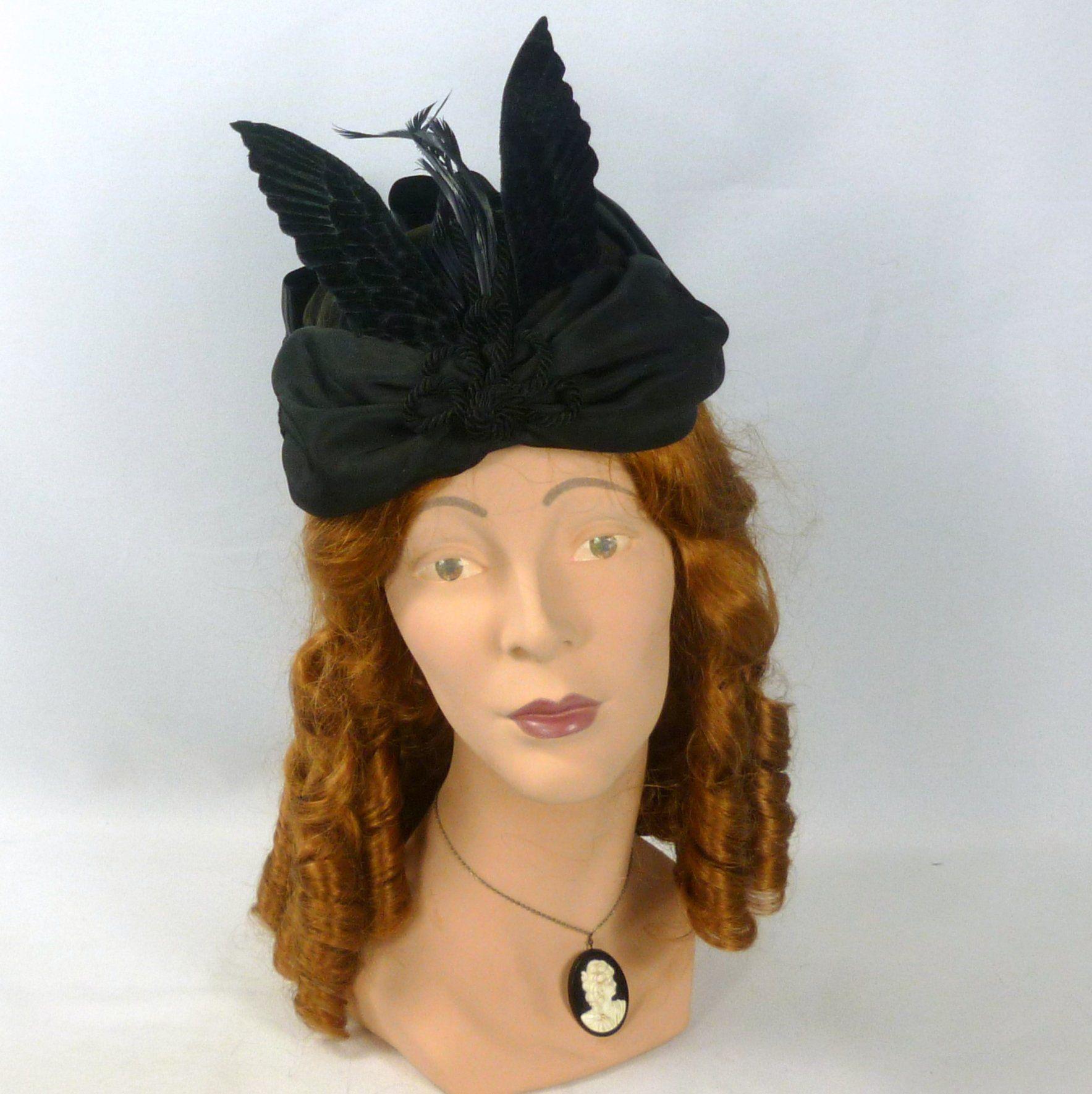 Victorian Style Bonnet Hat in Black - Silk Velvet - Velvet Wings -Ribbon  -Feathers -Vintage Black Passementerie - Civil War - Costume - SASS f812042b368