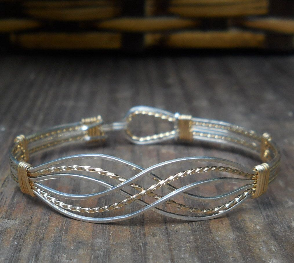 Wire Bracelets With Charms: INFINITY BRACELET In Sterling Silver And 14 Karat Gold