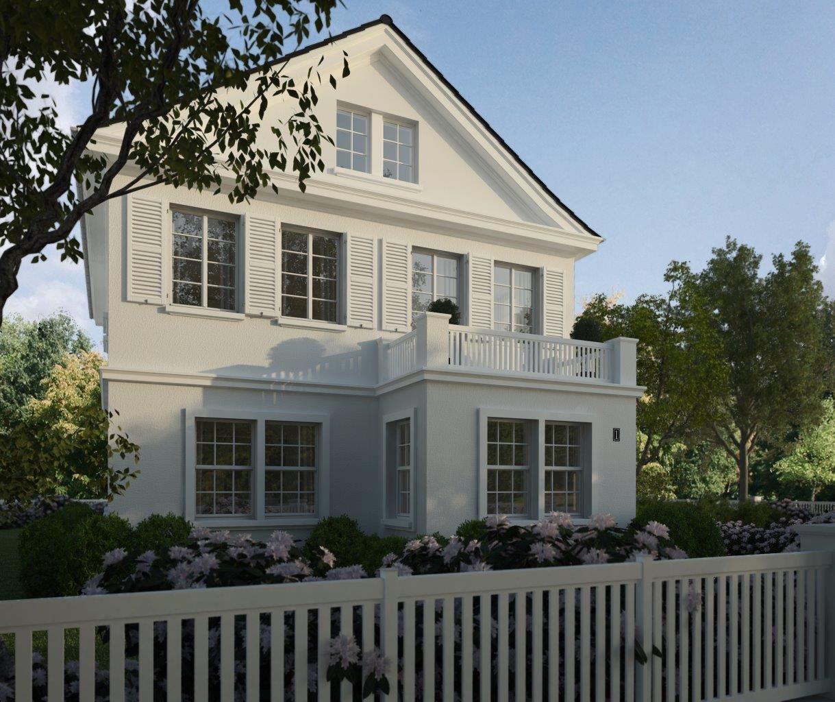 villa amalia blick ber den wei lackierten holzzaun ein wundersch nes schlichtes. Black Bedroom Furniture Sets. Home Design Ideas
