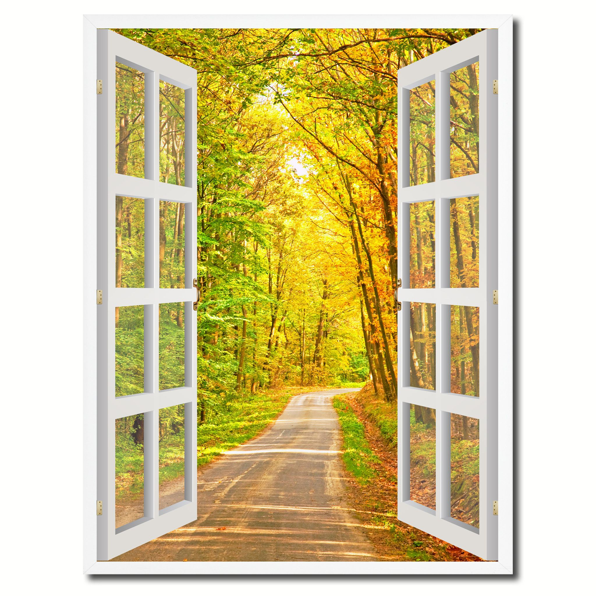 Pathway Autumn Park Fall Forest Picture French Window Canvas Print ...
