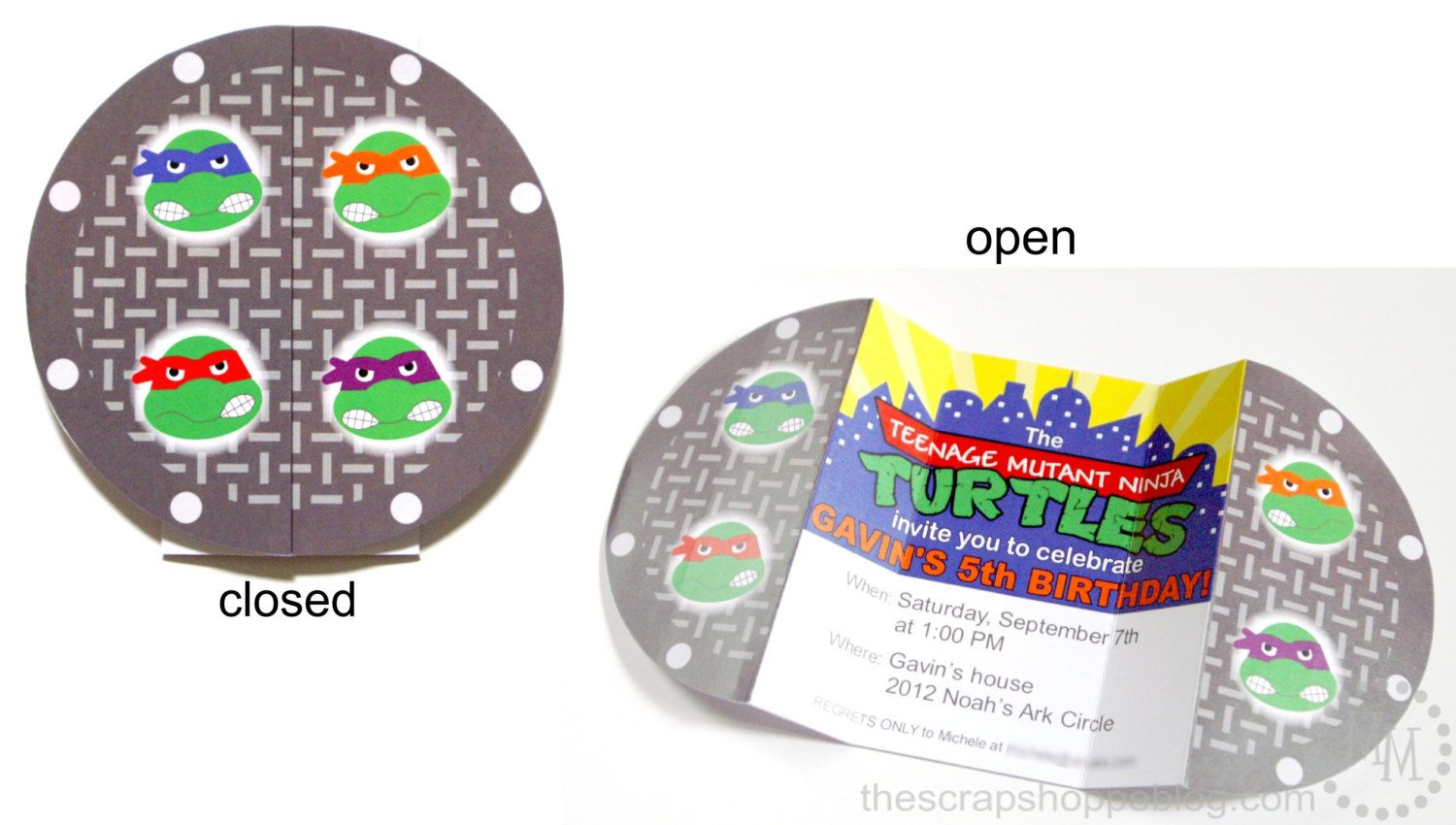 Ninja Turtle Manhole Custom PRINTABLE Birthday Invitation | Landon\'s ...