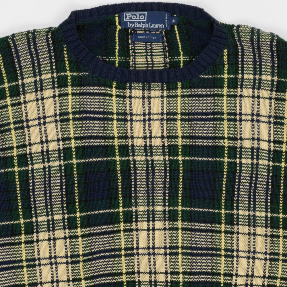 a7f24541 Vintage 80's 90's Polo Ralph Lauren Plaid Pullover Crewneck Knit Sweater  X-Large | Clothing, Shoes & Accessories, Men's Clothing, Sweaters | eBay!