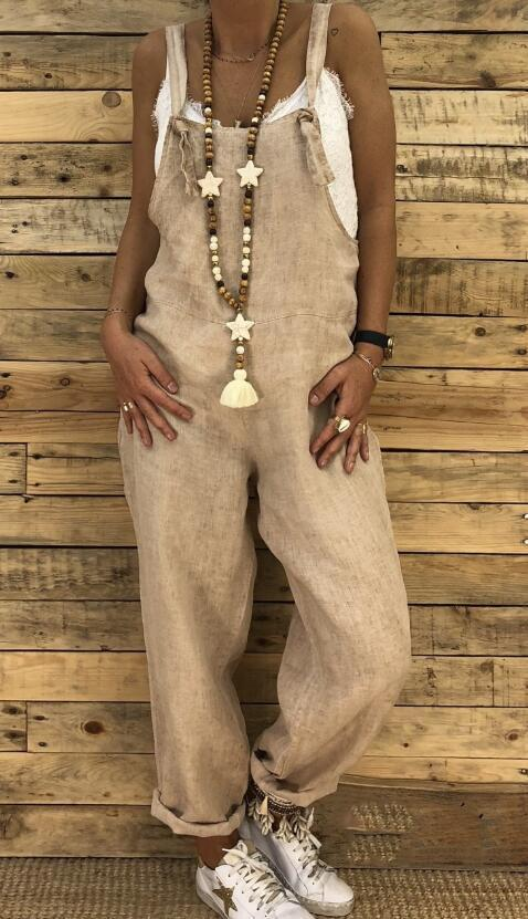 NEW Stylish Women Spaghetti Strap Solid Color Pocket Casual Loose Long Jumpsuit