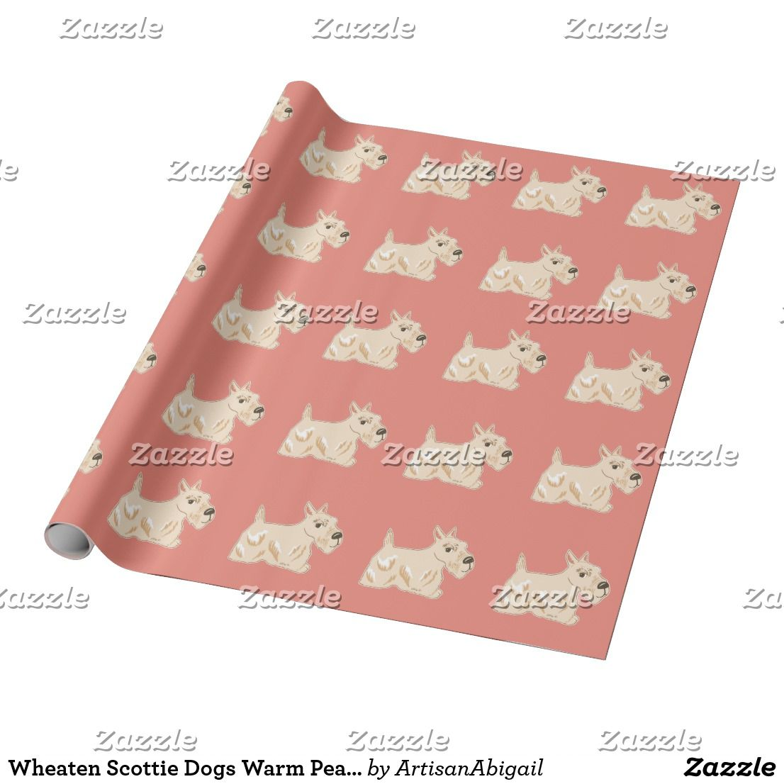 Wheaten Scottie Dogs Warm Peach Wrapping Paper ArtisanAbigail At Zazzle