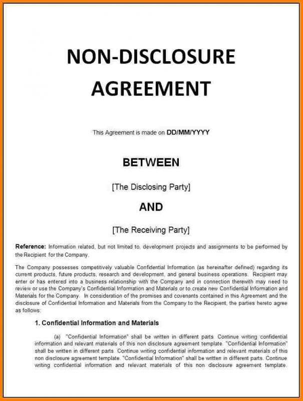Basic Non Disclosure Agreement template Pinterest Template