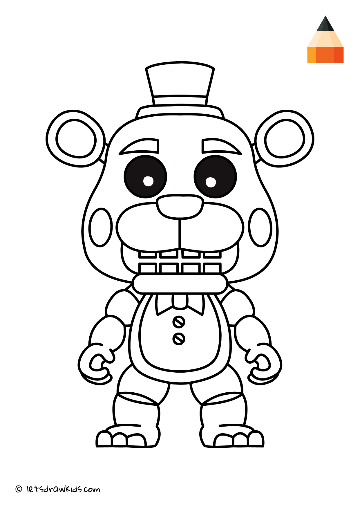 Coloring Page - Freddy Fazbear | Coloring pages | let\'s draw kids ...