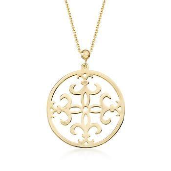 1276c5088caf7 14kt Yellow Gold Fleur-De-Lis Pendant Necklace. 17