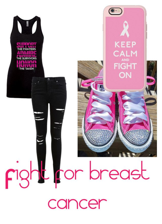 """Fight for breast cancer"" by swagforever ❤ liked on Polyvore featuring Miss Selfridge, Converse and Casetify"