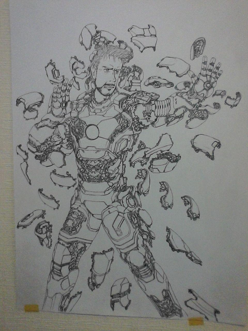 Mark 42, aun en proceso, la empeze antes del teaser de Iron Man 3, por ende el proceso de armado es distinto al mostrado en la peli. 1/8 de mercurio entintado