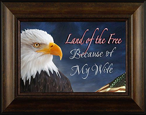 Because of My Wife By Todd Thunstedt 20x26 Land Of The Free Patriotic Soldier Military War Constitution Lincoln Reagan VFW Legion Bald Eagle Helicopter General Framed Art Print Wall Décor Picture ThunderMark Art and Graphics http://www.amazon.com/dp/B014C4BKXU/ref=cm_sw_r_pi_dp_Zo64vb1Q036NP