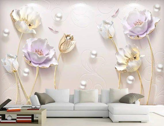 3D Rilievo Look Floral Wallpaper Tulip Fiore Muro Murale Morbido Fiore Art ClassicO Decor Cafe Design Ingresso