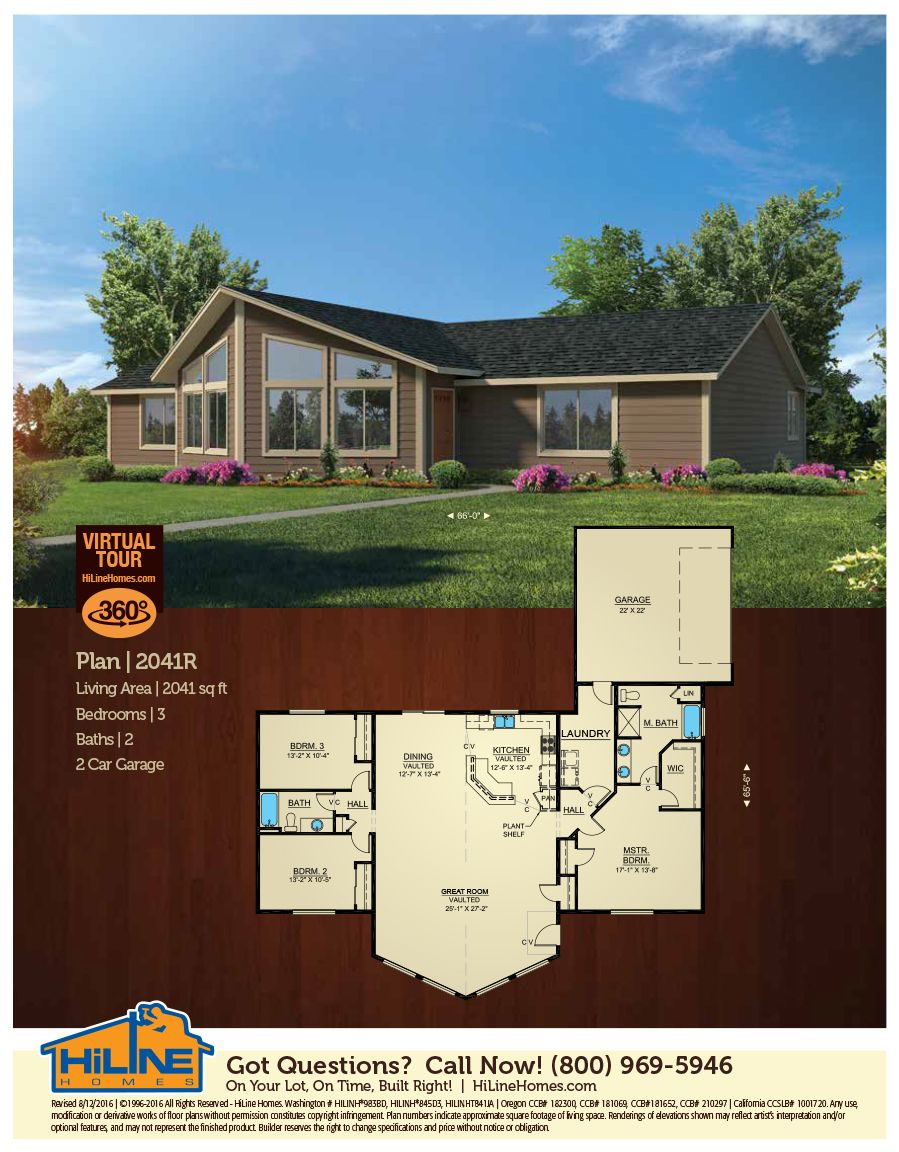 Plan 2041 open floor plan split bedrooms 9 walls in vaulted great room dramatic prow front excellent for view lots