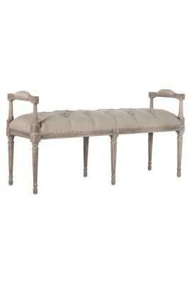 Beautiful Emmeline Bench   Tufted Bench, Wooden Bench, Indoor Bench, Distressed Bench  | Soft