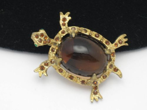 Vintage Denicola de Nicola Glass Belly Rhinestone Figural Turtle Brooch Pin | eBay