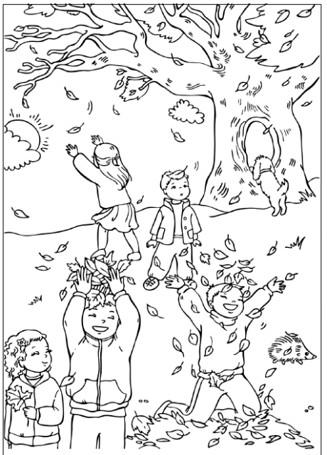 The Children Playing Leaves Autumn