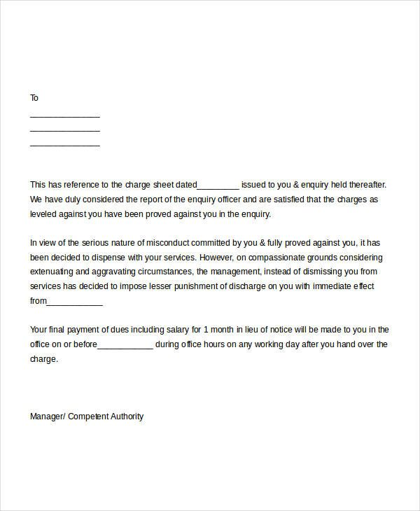 free termination letter templates word pdf documents samples - sample termination letters