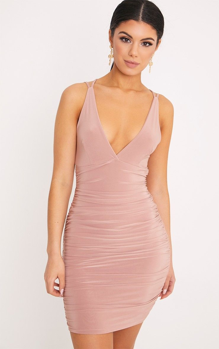 Agness Rose Cross Back Ruched Bodycon Dress Bodycon Dress Bandeau Bodycon Dress Short Dresses Tight